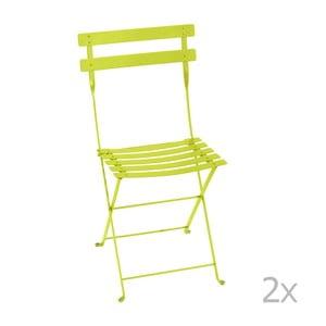 Sada 2 svetlozelených skladacích záhradných stoličiek Fermob Bistro