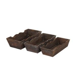 Sada 3 hnedých drevených misiek Mendler Shabby