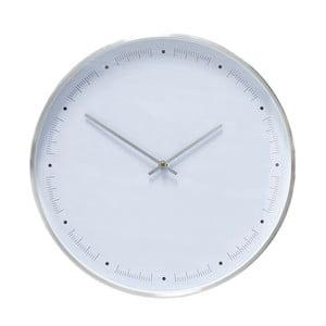 Biele nástenné hodiny s rámčekom v striebornej farbe Hübsch Ibtre, ø 40 cm