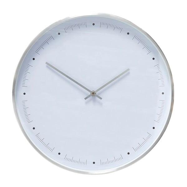 Biele nástenné hodiny s rámikom v striebornej farbe Hübsch Ibtre, ø 40 cm