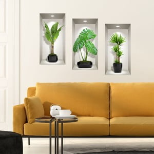 Sada 3 3D samolepiek na stenu Ambiance Green Plants