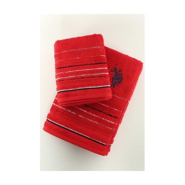 Sada 2 osušiek U.S. Polo Assn. Tempe Red, 50x90 a 70x140 cm