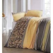 Obliečky s prímesou bavlny s plachtou na dvojlôžko Miranda Honey, 200 × 220 cm