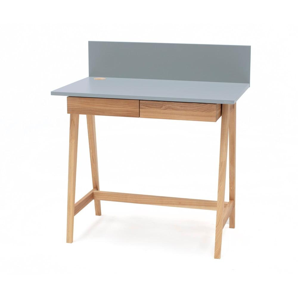 Sivý písací stôl s podnožím z jaseňového dreva Ragaba Luka, dĺžka 85 cm