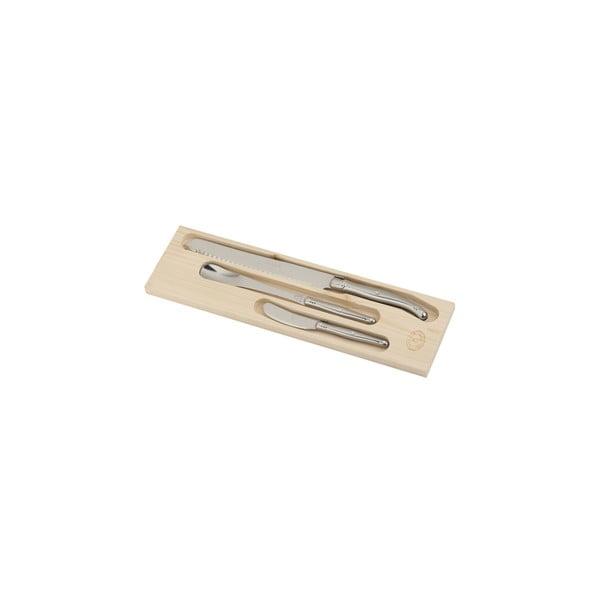 Sada 3 raňajkových antikoro nožov v drevenom balení Jean Dubost