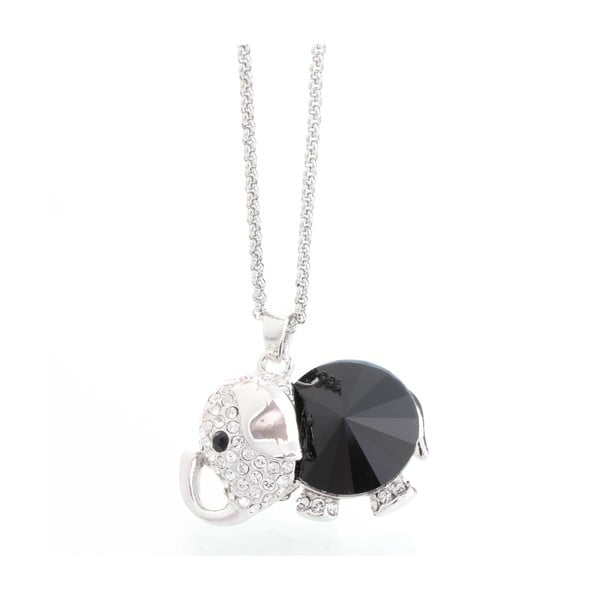 Náhrdelník so Swarovski Elements, čierne sloníča