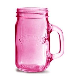 Ružový pohár s uškom Kilner 350 ml