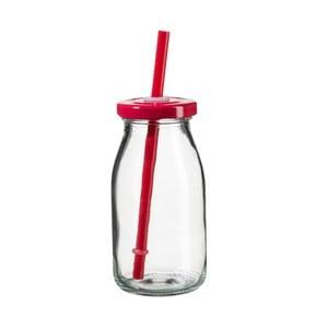 Fľaša na smoothie s červeným viečkom a slamkou SUMMER FUN II, 200ml