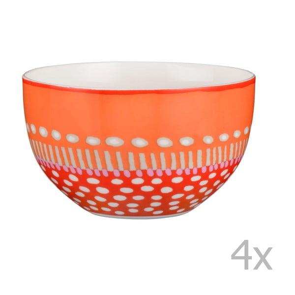 Sada 4 porcelánových misiek Oilily 12cm, oranžová