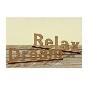 Sada 2 dekoratívnych nápisov Relax and Dream