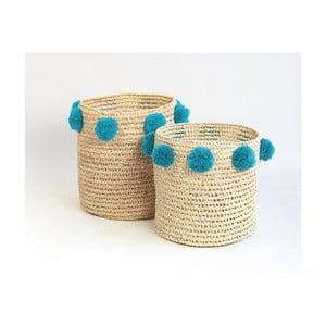 Sada 2 úložných košíkov s tyrkysovými dekoráciami Madre Selva Milo Basket