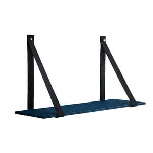 Modrá betónová polička s koženými popruhmi Furnhome Aros, dĺžka 90 cm