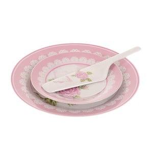 Sada 8 tanierikov a lyžice na tortu Pink Roses