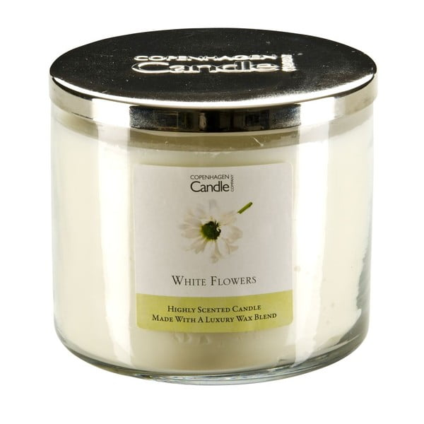 Aróma sviečka s vôňou kvetov Copenhagen Candles White Flowers, doba horenia 50 hodín