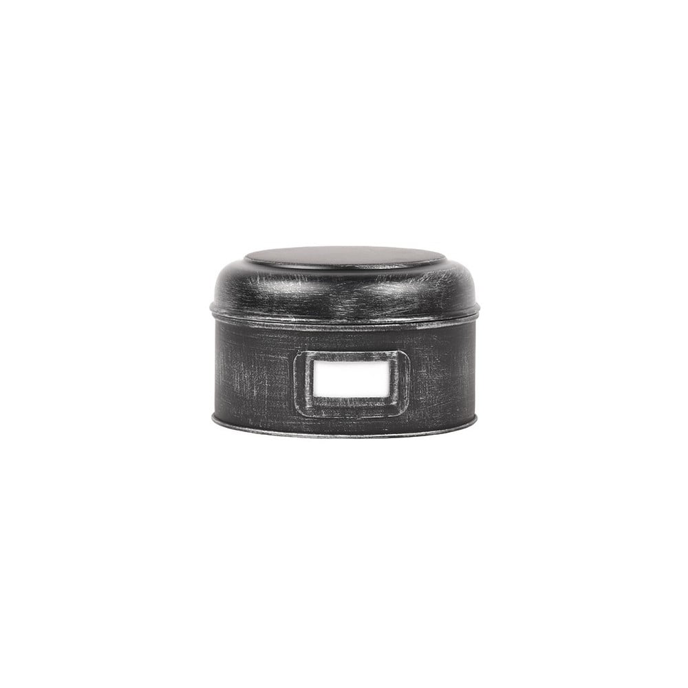 Čierna kovová dóza LABEL51 Antigue, ⌀ 17,5 cm