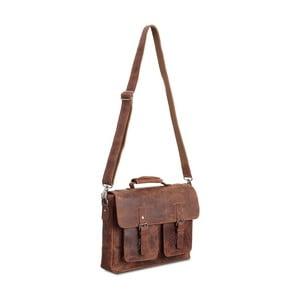 Hnedá kožená taška cez rameno Packenger Colby