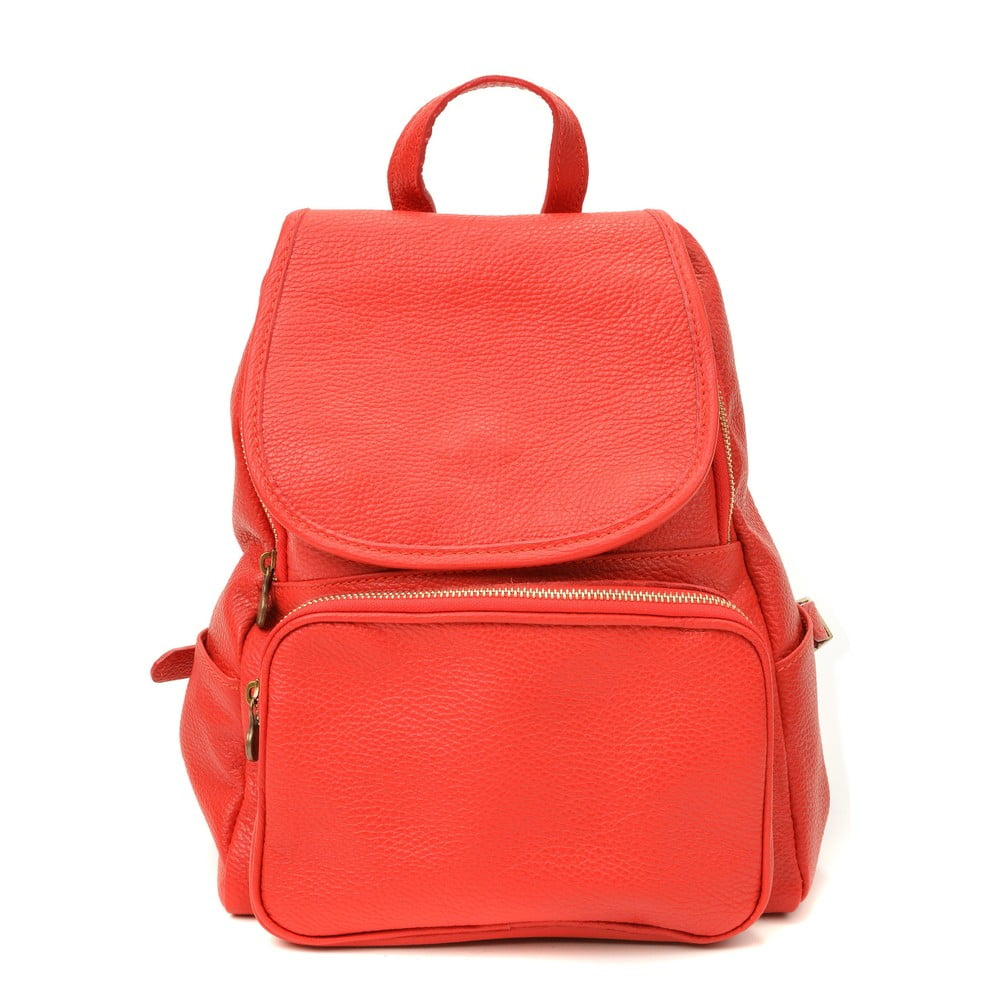 Červený kožený batoh Luisa Vannini Sienna