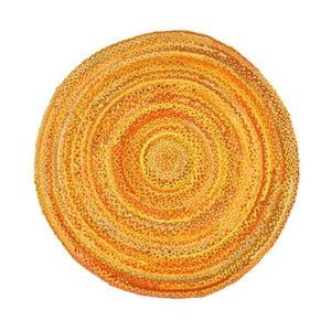 Žltý bavlnený okrúhly koberec Eco Rugs, Ø 120 cm