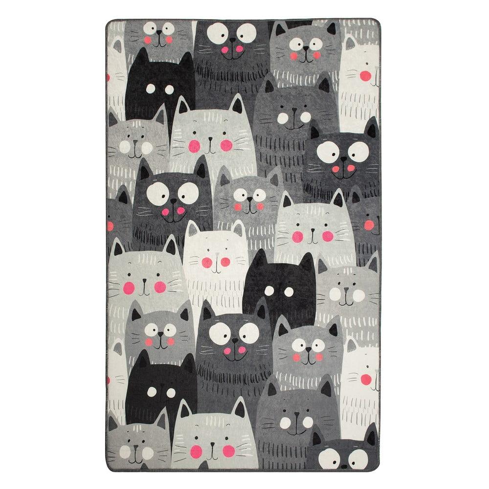 Sivý detský protišmykový koberec Chilam Cats, 100 x 160 cm