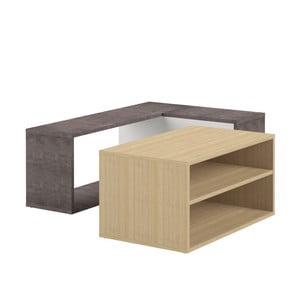 Dvojdielny konferenčný stolík v dekore dubového dreva a betónu Symbiosis Angle