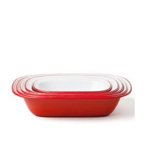 Sada 5 červených smaltovaných foriem na koláč Falcon Enamelware Family