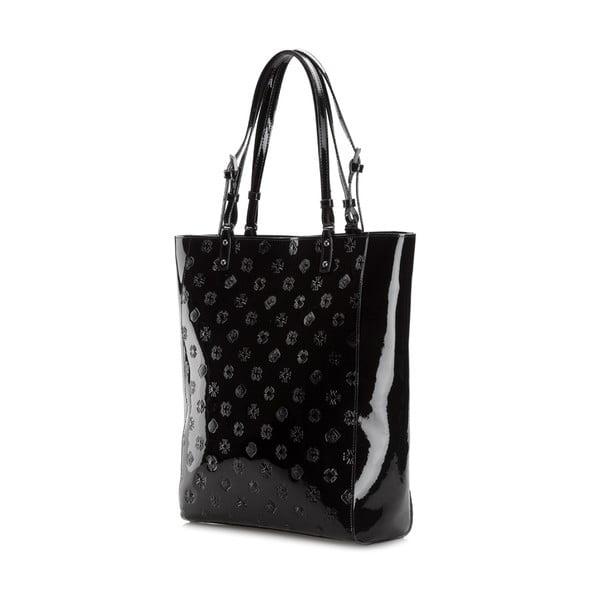 Kožená kabelka Signature Shiny Black