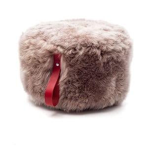 Hnedý puf z ovčej kožušiny s červeným detailom Royal Dream, Ø60 cm