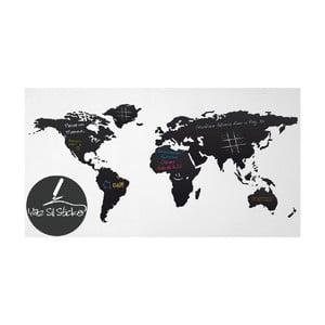 Čierna nástenná tabuľová samolepka Homemania World