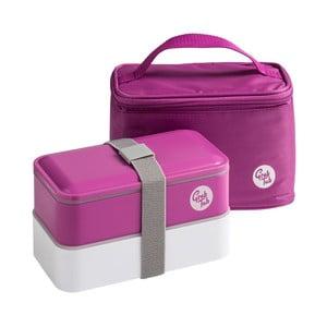Set tmavoružového desiatového boxu a tašky Premier Housewares Grub Tub, 21×13cm