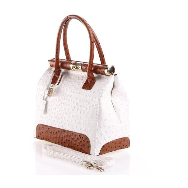 Kožená kabelka Rosalind, biela/hnedá