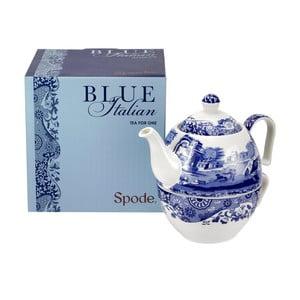 Bielo-modrá porcelánová kanvička s hrnečkom na čaj Spode Blue Italian, 450 ml