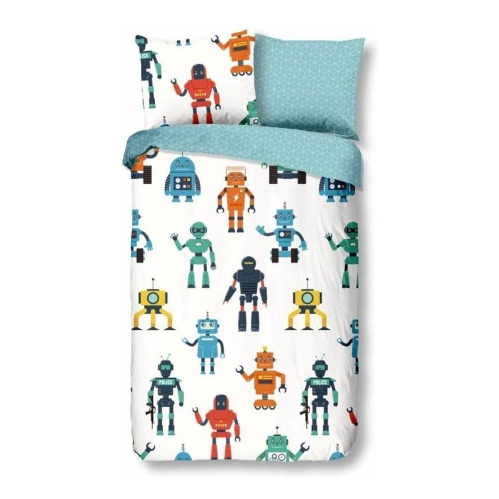 Detské obliečky na jednolôžko z bavlny Good Morning Robots, 140 × 200 cm