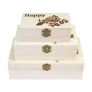 Sada 3 drevených boxov Mendler Shabby Rose