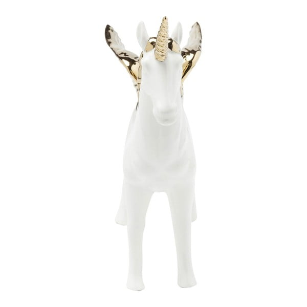 Biela dekorácia s detailmi v zlatej farbe Kare Design Figurine Unicorn