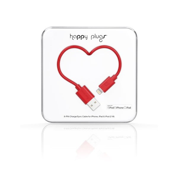 Červený Happy Plugs nabíjací a dátový kábel, 2 metre