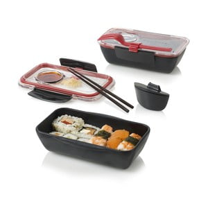 Desiatový box Bento, čierno-červený