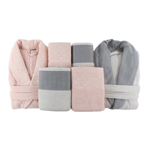 Rodinný set 2 bavlnených županov a 4 uterákov Pink&Grey