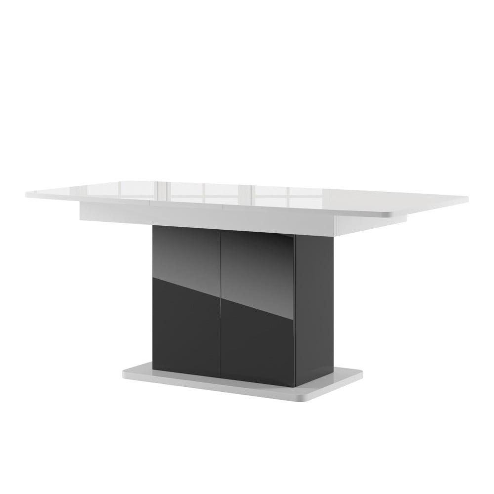 Čierny rozkladací jedálenský stôl s bielou doskou Szynaka Meble Star