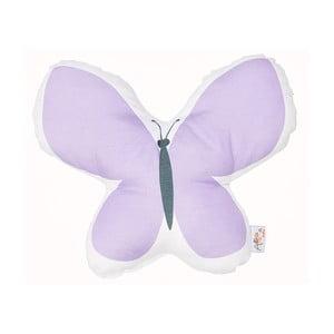 Fialový detský vankúšik s prímesou bavlny Apolena Pillow Toy Butterfly, 26 x 30 cm