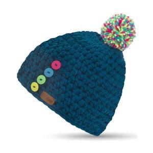 Modrá ručne háčkovaná čiapka s gombíkmi DOKE Blue Short
