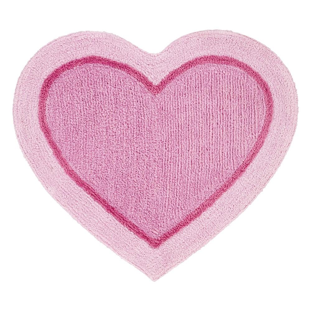 Ružový detský koberec v tvare srdca Catherine Lansfield, 50 x 80 cm