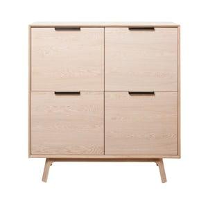 Komoda z bieleho dubového dreva s 4 dvierkami Unique Furniture Vivara