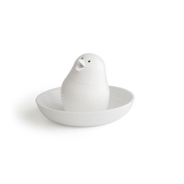 Biela soľnička s tanierikom na vajíčko Qualy Jib-Jib Shaker