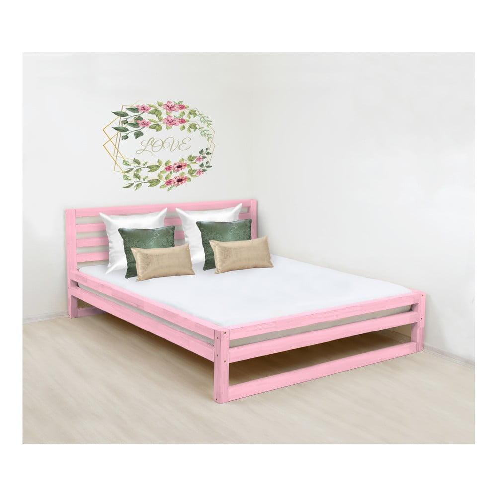 Ružová drevená dvojlôžková posteľ Benlemi DeLuxe, 190 × 160 cm