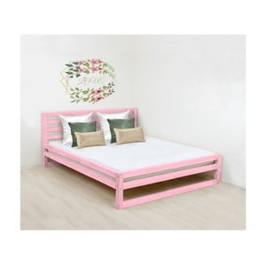 Ružová drevená dvojlôžková posteľ Benlemi DeLuxe, 190 × 180 cm