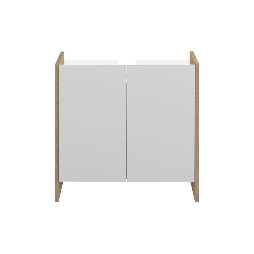 Biela kúpeľňová skrinka s hnedým korpusom Symbiosis Biarritz, výška 59,2 cm