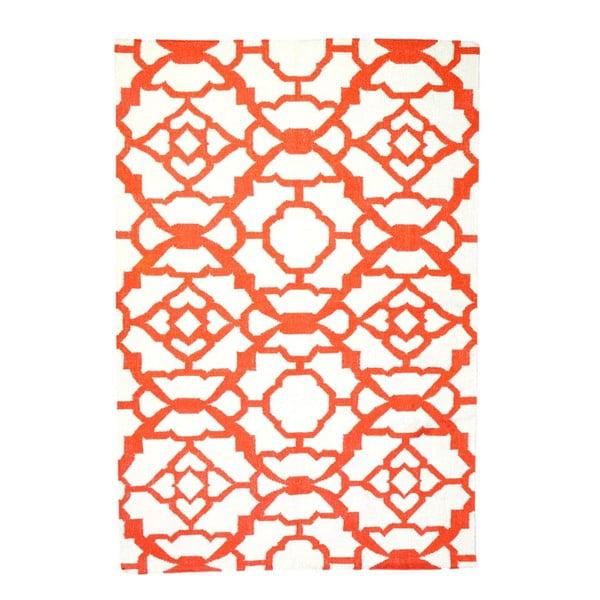 Vlnený koberec Geometry Chara Orange & White, 160x230 cm