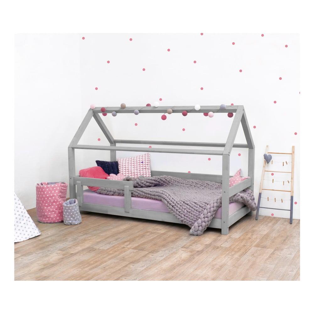 Sivá detská posteľ s bočnicami zo smrekového dreva Benlemi Tery, 120 × 200 cm