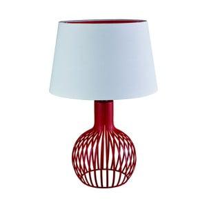 Stolová lampa Searchlight Cage,biela/červená