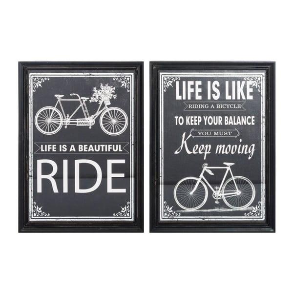 Sada 2 obrazov Bike Black, 41x56 cm